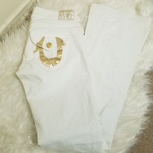 True Religion White Joey Flare Jeans NEW Size 28